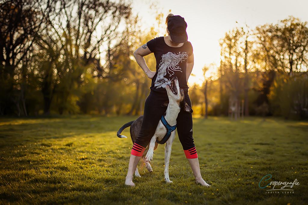 Eine junge Frau führt mit ihren Europäischen Schlittenhund Tricks aus dem Dogdancesport auf
