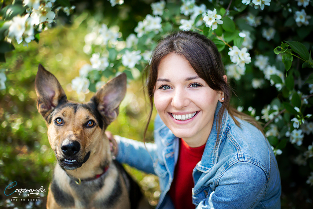 Hund und Mensch Portrait vor einem Blumenbusch beim Fotoshooting in der Blumenwiese